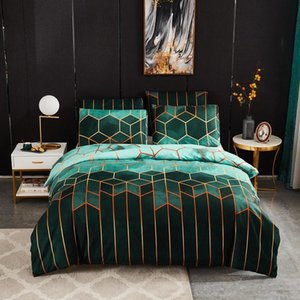 50 Green Geometric Patterns Comforter Bedding Set Queen Size Luxury Duvet Cover For Adults