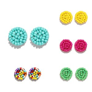 Simple Multicolor Ethnic Resin Handmade Beaded Earrings For Women Accessories Bohemia Geometric Earrings Fashion Jewelry