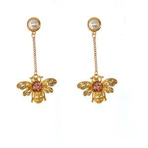 High End Wholesale retails fashion stud Earrings Women Cute Bee Dangel Tassel Pendant Gold Bee Earring Charm Party Jewelry Gifts For Women