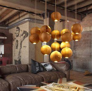 Native Wood Handmade Wooden Chandelier Hanging LED Pendant Lamp Ceiling Light Meteoric Shower Stair Light Chandelier Lighting