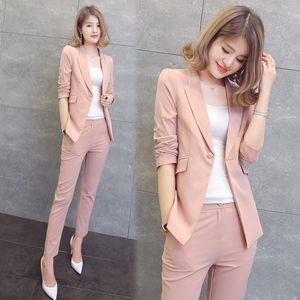2 Piece Set Women Black Pink Yellow Red White Pants Suits Cardigan Trousers Autumn Plus Size Office Women Pant Suits