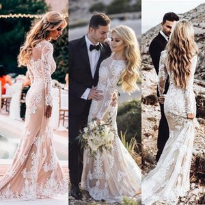 Lace Mermaid Wedding Dresses Country 2021 Long Sleeves O-Neck Vestidos De Fiesta Zipper Back Bride Wedding Gowns