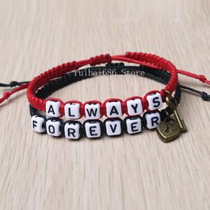 Forever and Always Couples Bracelet Set, Key lock Loves Bracelet Boyfriend Gift. Girlfriend Present Y1119