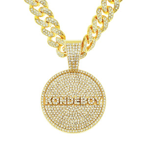 Personality domineering diamond letter tag pendant necklace men's hip-hop style rap accessories pendant jewelry
