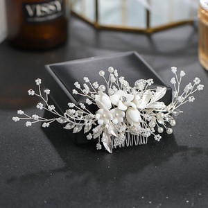 Moda Düğün Çiçek Şekli Saç Tarak Saç Pin Gelin Tarak Headdress El Yapımı Kadınlar Headpeice Saç Takı Aksesuar