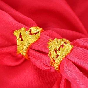 2020 NOUVELLE ARRIVÉE NO FACE VIETNAM GOLD ALLUVIAL BAGNES OUVERTAMENTS DRAGON Phoenix Anneaux de mariage Bijoux de mariage