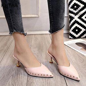 Khtaa sommer frauen mules hausschuhe niet massiv spitze zee sandalen gleitet lässig leder dünne high heels schuhe damen schuhe # 0e9r