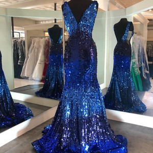 Ombre Prom Dress 2021 Mermaid Deep V Neck Pageant Gown Sweep Train Open Back Formal Party Event Gowns Multi Contrast Color