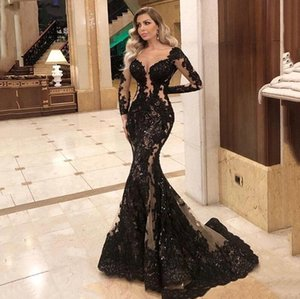 2021 Sexy Illusion Back Formal Evening Dresses Gorgeous Lace Appliqued Beading Mermaid Long Prom Gowns Floor Length Red Carpet Celebrity Dre