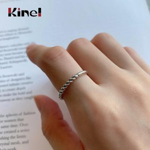 Kinel Korean Sterling Silver Simple Retro Weaving Rings for Women Jewelry Opening Anillos De Plata 925 De Ley Mujer