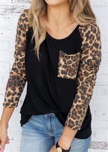 Leopard T Shirt Women Pocket Tops Tee Autumn Spring Long Sleeve Tee Shirts Casual Loose Female Top Lady Raglan sleeve tshirt