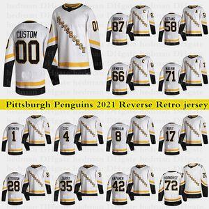Pittsburgh Penguins 2021 Reverse Retro Jerseys 87 Sidney Crosby 66 Lemieux 71 Malkin 58 Letang Custom 모든 숫자 Hockey Jersey