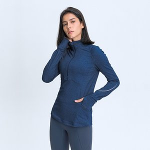 Yoga Jacket Head Half Zipper Yoga Long Sleeve Elastic Slim Reflective Strip Sports Running Fitness Top Solid Color Zip Closure Women Coat