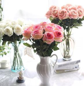 Flannelette Artificial Rose Silk Flor Fake Roses Largo Tallo nupcial Boda Bouquet para Home Garden Boda Flores Artificiales KKA8319