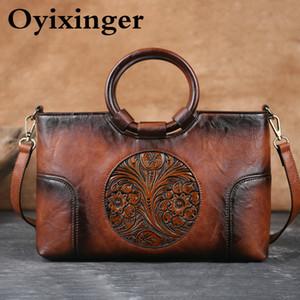 Sac à main Femme Oyixinger Nouveau Sac à bandoulière en relief à la main rétro pour femmes Sacs Messenger en cuir de haute qualité Grande capacité C0121