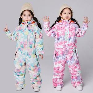 Winter Warm Girls Snowboard Jumpsuit Hoodie Children's Ski Suit Sport One Piece Kids Snow Overalls Waterproof Baby Clothes Sets Z1128