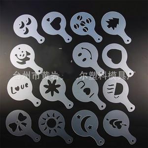 Molde plástico pull flor espessamento 16 pcs ferramentas de ferramentas de café Die Fancy Love Modelo Impressão Molde Latte 1 25an K2