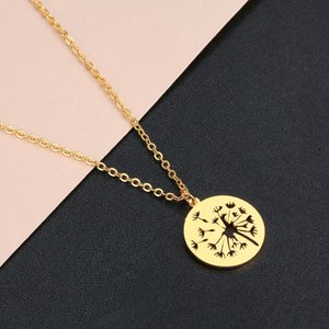 New Design Creative Dandelion Pendant Necklace For Women 2021 Trendy Lucky Wish Amulet Stainless Steel Jewelry Lover's Gift