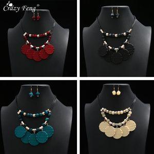Fashion Big Acrylic Beads Boho Custom Jewlery Set for Women Vintage Geometric Pendant Necklace Earrings Set Bridal Accessories