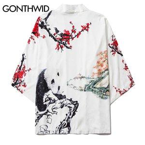 GONTHWID Panda Plum Blossom Print Mens Casual Kimono Japanese Floral Printed Kimono Cardigan Shirts Jackets Streetwear Coats 201123
