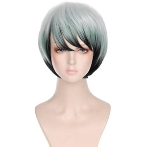 New Demon Slayer Blade Yushiruo Multicolor Gradient Short Hair Cosplay Anime Wig Suitable For Stage Play