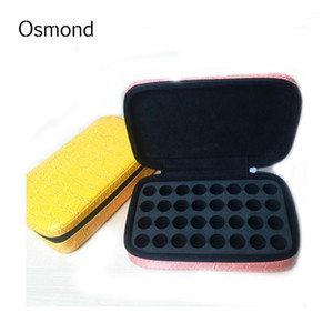 Wholesale- 2017 Fashion 32 Bottles 2ML Essential Oil Carrying Case Make Up Bag Storage For Traveling Cosmetic Bag Leather Case1
