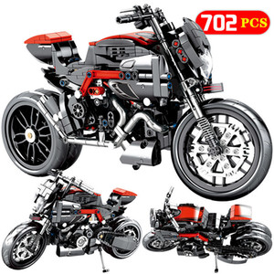 799PCS City Moto Racing Motorbike Model Building Blocks Technic Motorcycle Vehicles Bricks Educational Toys For Boys Q1126
