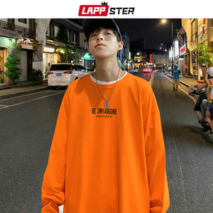 Lappster Men Graphic Letter T Shirt Manica lunga Autunno Mens Harajuku Streetwear Kpop Tshirts Colorful Tops Tees Plus Size 201201