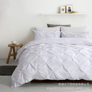 Three-Piece Bedding Sets Quilt Cover Pillow Case Duvet Cover Handmade Pulling Flower Pure Color Comforters Quilt Bed Suits