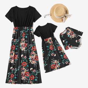New Floral Mother Baby Daughter Matching Dress Flower Print Short Sleeved Stitched Mommy Me Matching Outfits Baby Tassel Romper S469