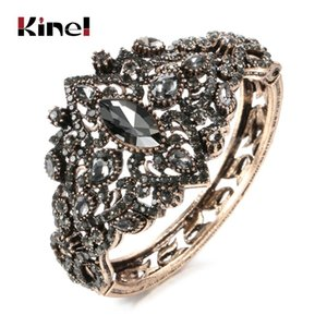Kinel Vintage Grey Crystal Bangles Antique Gold Boho Wide Cuff Bracelets For Women Statement Ethnic Bride Jewelry Party Gift