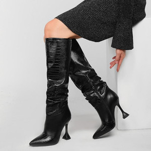 Womens Pointy Toe PU Leather Knee Thigh High Boots Stilettos Heel Crocodile Pattern Western Riding Motorcycle Shoes Plus Sz 2021