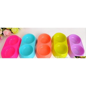 New Pet Feeder For Cat Dog Pets Supplies Double Food Plastic Bowls For Cats Dogs Food Dishes Holder High Quality qylSms yh_pack