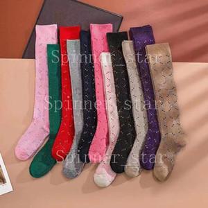 Filles filles quatre saisons chaussettes personnalité lurex jacquard rétro couleur genou longueur longueur jupe courte chaussettes sportives
