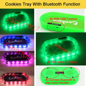 Cookies Tray PARTY MODE Glowtray Blue Red LED Cookies Rolling Glow Tray White Runtz Backwoods with Bluetooth speaker For Rolling Dry herb
