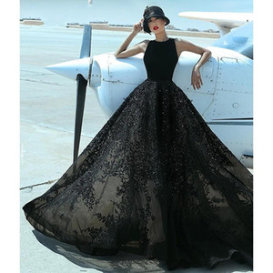 2021 Black Evening Gowns Empire Waist Lace Beades Jewel A-line Special Occasion Dress Womens Prom Formal Party Dress Vestidos De Novia