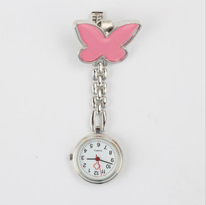 Fashion Metal Nurse Watch Butterfly Cartoon Design Clock Charm Women Medical Military Brooch Pocket Red Cross Analog Quartz Clock.