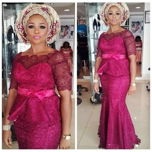 Vintage Full Lace Fuchsia With Peplum Evening Dresses Nigerian African Mermaid Long Holiday Wear Pageant Prom Party Gown Plus Size