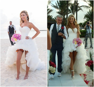 2021 Hot Hi Lo Draped Short Front Long Back Beach Wedding Dresses Sexy A Line Strapless Court Train Destination Bridal Gown Dress Cheap