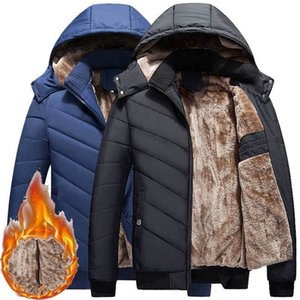 Men Winter parkas 2019 Fashion hooded Collar Male Parka Jacket Mens Solid Thick Plush Jackets and Coats Man outwear overcoat