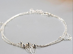 Women 925-Sterling-Silver Anklet Leaf Ankle Bracelet Bead Anklets for Women Fashion Foot Jewelry New Body Chains ps0557