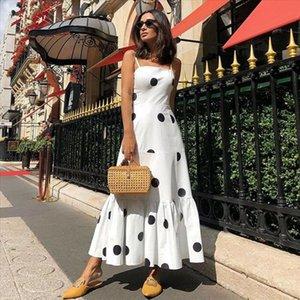 New Women Summer Boho Casual Sleeveless High Waist Long Party Beach Dress Sundress Holiday Polka Dot Sundress