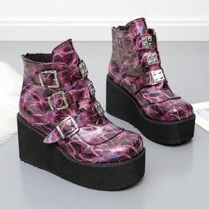 2020 Nuove Donne invernali Piattaforma Stivali Moda Spessore Bottom Boot Stivaletti Stivaletti Scarpe Scarpe Lace Up Fibbia Ankle Botas Mujer