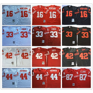 NCAA Vintage Retro #16 Joe Montana Shirt 33 Roger Craig 44 Tom Rathman 87 Dwight Clark 42 Ronnie Lott Stitched Football Jerseys