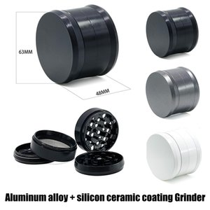 2019 Newest Aluminum Alloy Grinder with Silicon Ceramic Coating 4 Layers 63mm Diameter 48mm Length 3 Color for Option Herb Tobacco Grinder