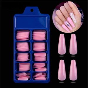 100Pcs Candy Colors Long Ballerina Fake Nails Coffin Press on Nails False Nail Art Tips ABS Full Cover Nail Decor Manicure