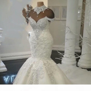 Luxurious Rhinestone High-Neck Wedding Dresses Lace Applique Crystal Beading Short Sleeves Mermaid Wedding Gown Sexy Plus Size Wedding Dress
