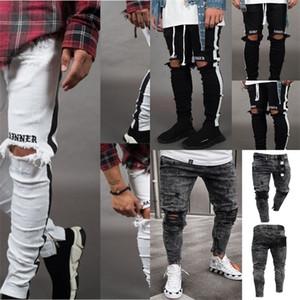 Апрель Momo Мужчины Стильные Разорванные Джинсы Брюки Байкер Тощий тонкий прямой потертый джинсовые брюки мода скинни джинсы мужская одежда
