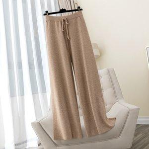 Bygouby otoño invierno grueso cálido mujeres pantalones de pierna ancha dibujar dibujos de longitud completa moping shaking pantalón de cintura alta pantalones de punto casual Q0112