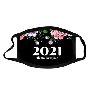 2021 Mutlu Yeni Yıl Tasarımcı Yüz Maskesi Chrismas Parti Maskeleri Yıkanabilir Kullanımlık Yüz Maskesi Dijital Baskılı Koruma Maskeleri HWC3859